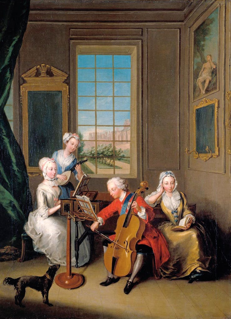 The Musick Party: Frederick, Prince of Wales with his Three Eldest Sisters, (1733), Philippe Mercier. The Royal Collection