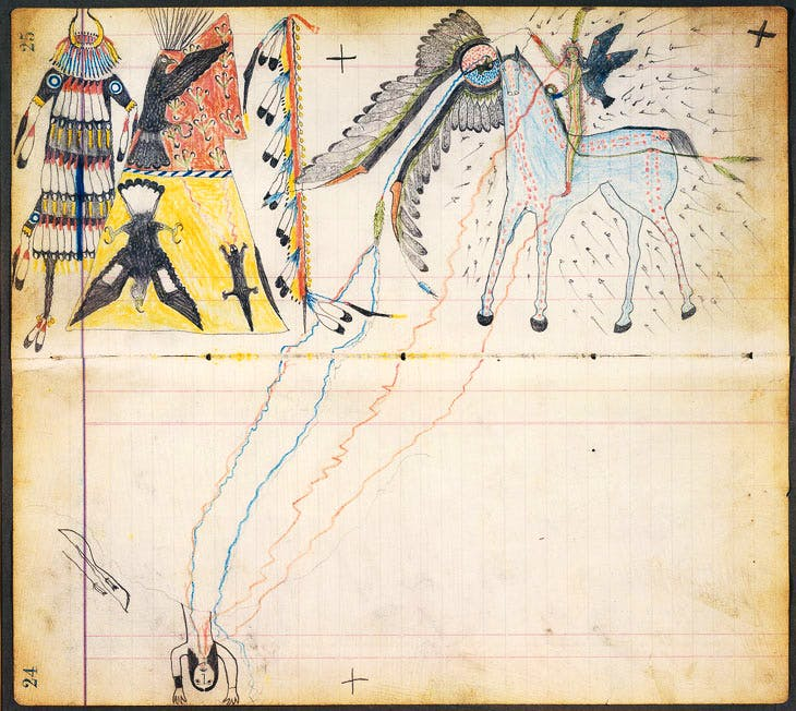 A Medicine Vision (c. 1880), attributed to 'Henderson Ledger Artist A', also known as Horseback, Arapaho, Oklahoma. Promised Gift of Charles and Valerie Diker. Photo: Dirk Bakker