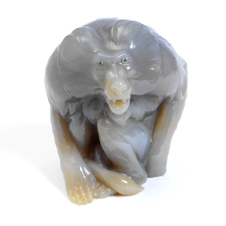 Hissing baboon, chalcedony with rose-cut diamonds eyes, (about 1907), Carl Fabergé. © Victoria and Albert Museum, London