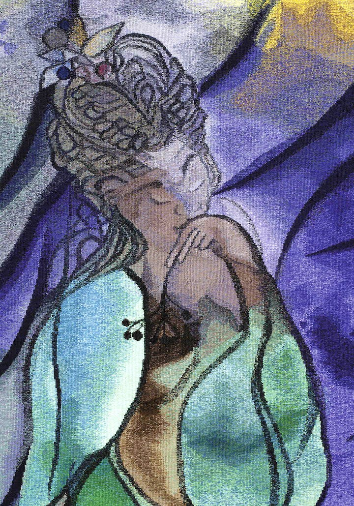The Caged Bird's Song (detail; 2014–2017), Chris Ofili. © Chris Ofili. Courtesy the Artist and Victoria Miro, London, The Clothworkers' Company and Dovecot Tapestry Studio, Edinburgh. Photography: Gautier Deblonde