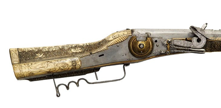 Wheellock rifle (c. 1590), decorated with engraved bone panels. From the Beriah Botfield collection, Norton Hall. © Royal Armouries