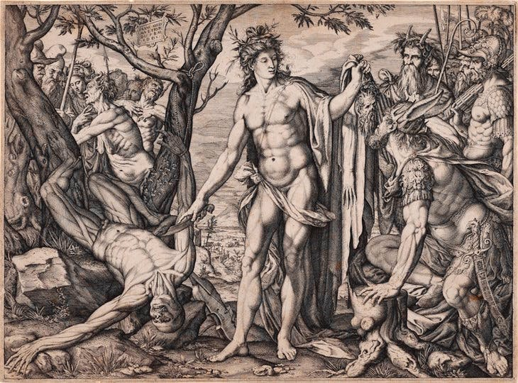 Apollo and Marsyas and the Judgement of Midas (1581), Melchior Meier. Metropolitan Museum of Art, New York