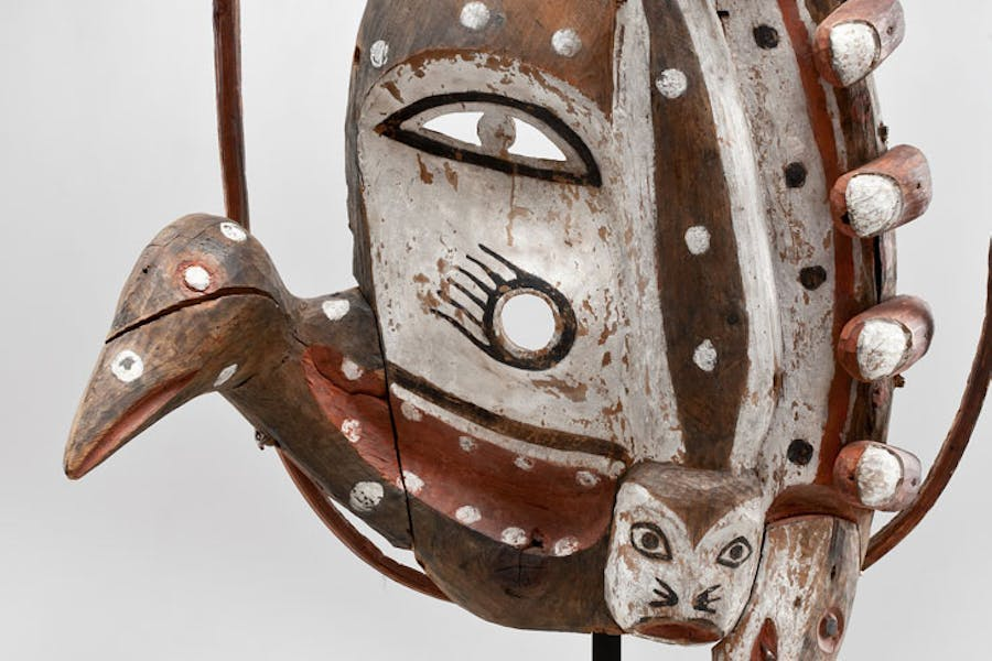 Dance Mask (detail; c. 1900), unrecorded artist, Yup'ik, Alaska. Promised gift of Charles and Valerie Diker. Photo: Dirk Bakker