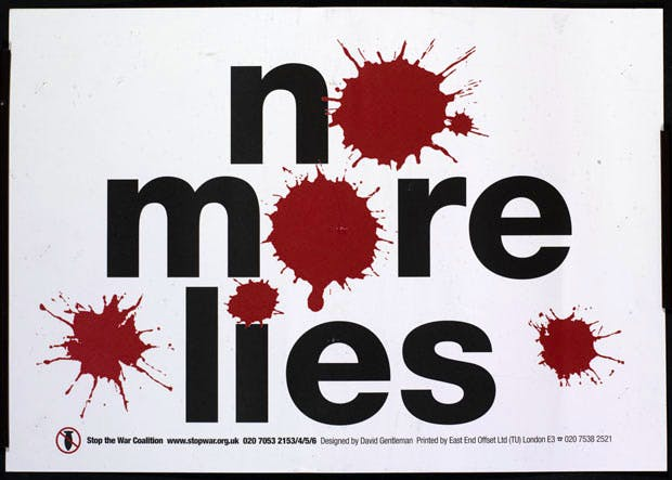 Stop the War Coalition campaign: 'No More Lies' © David Gentleman, reproduced with the kind permission of the Stop the War Coalition