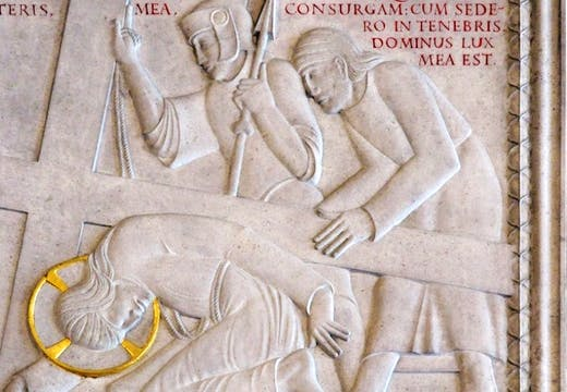 Station IX from the Stations of the Cross (1913–18), Eric Gill. Westminster Cathedral, London