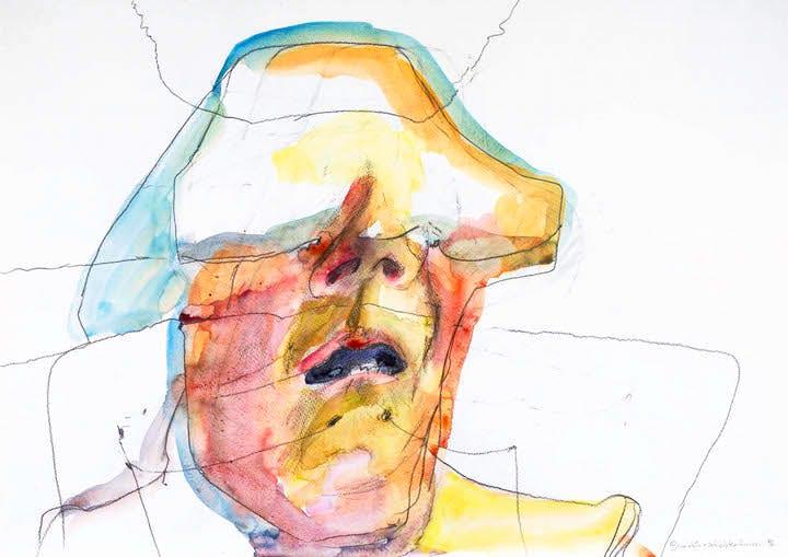Face Layer Lines (1996), Maria Lassnig. © 2017 Maria Lassnig Foundation