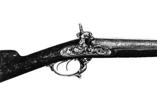 Percussion shotgun (dated 1862), made by LePage Moutier for the 1862 International Exhibition in South Kensington. From the W. Keith Neal collection. © Royal Armouries