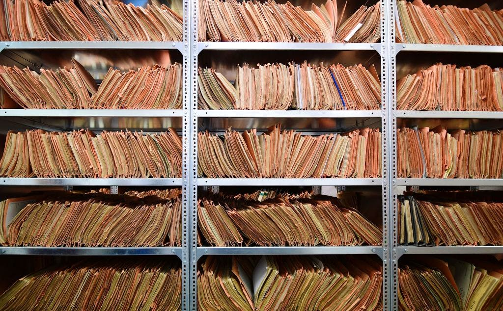 The records of the Stasi, former East German secret police, are stored at the Stasi Museum, in Berlin. (Photo: 21 February, 2017).