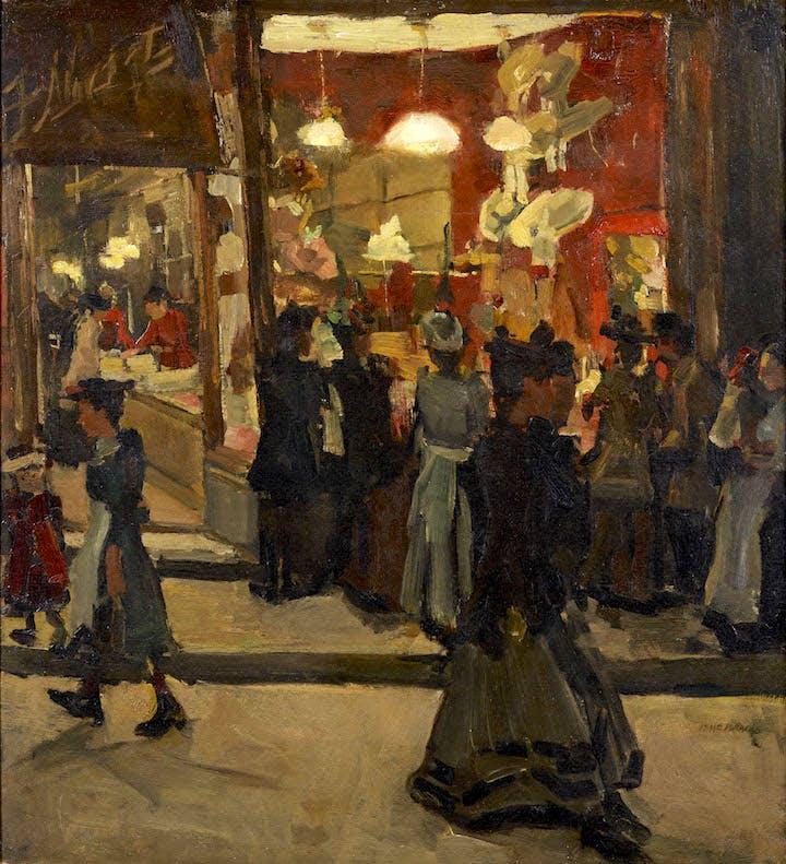 Hoedenwinkel van Mars op de Nieuwendijk te Amsterdam (1893), Isaac Israëls. Groninger Museum