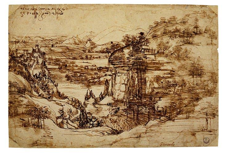 Landscape drawing for Santa Maria della Neve (1473), Leonardo da Vinci. Gabinetto Disegni e Stampe degli Uffizi, Florence