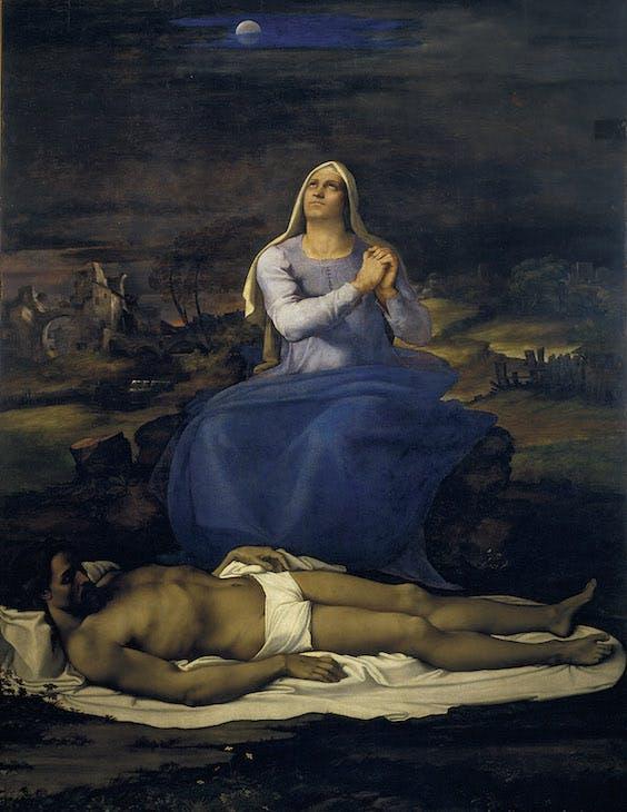 Lamentation over the Dead Christ ('Pietà') (c. 1512–16), Sebastiano del Piombo, after partial designs by Michelangelo. Museo Civico, Viterbo. © Comune di Viterbo