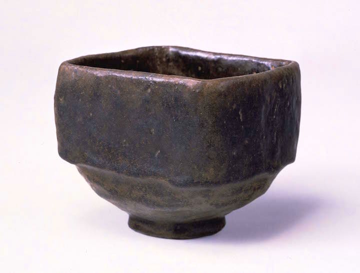 Tea bowl, black Raku type, known as Mukiguri, by Chojiro, 16th century. Agency for Cultural Affairs, Government of Japan