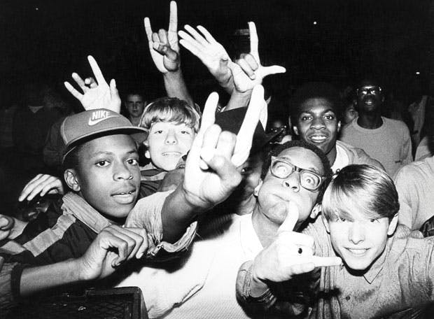 Crowd of early UK hip hop fans at Camden Town Hall, London (1986), Normski. Image courtesy Youth Club Archive