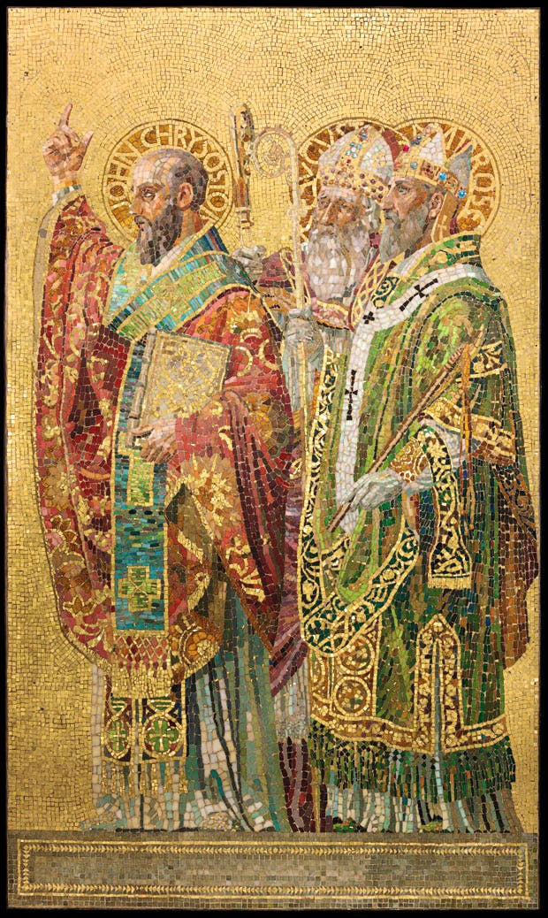 Fathers of the Church (panel; c. 1892), designed by Joseph Lauber, produced by Tiffany Glass and Decorating Company. ©The Neustadt Collection of Tiffany Glass, Queens, New York