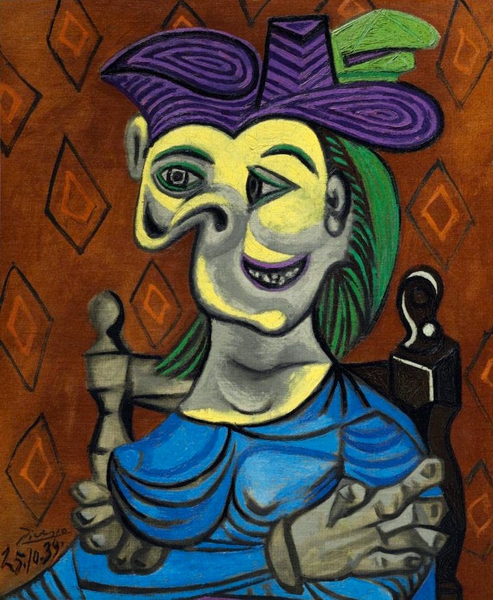 Femme assise, robe bleue (1939), Pablo Picasso. Christie's New York, estimate: $35–$50m