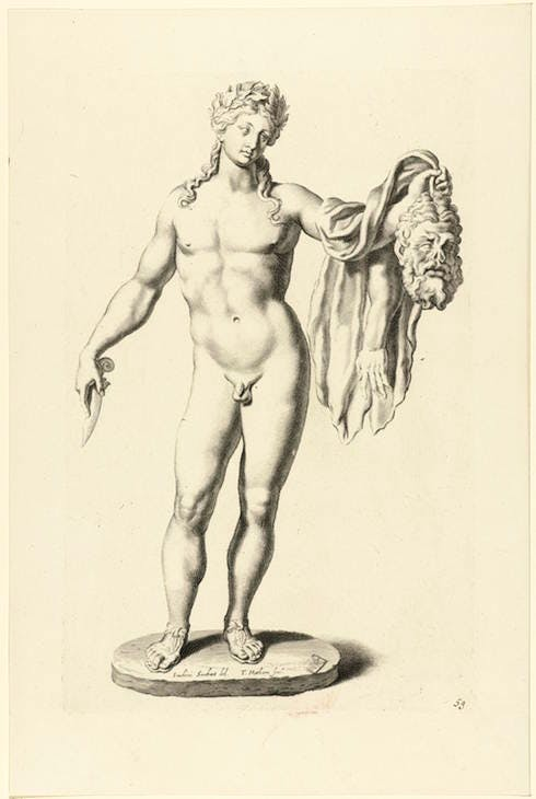 Statue of Apollo with the skin of Marsyas, from Galleria Giustiniana del Marchese V.G, c. 1936, Joachim von Sandrart; engraved by Theodor Matham. Rijksmuseum, Amsterdam