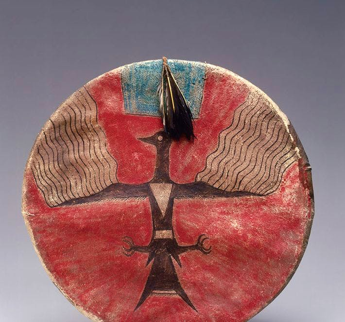 Shield (c. 1885), Joseph No Two Horns, (He Nupa Wanica), Hunkpapa Lakota, Standing Rock Reservation, North Dakota. Promised Gift of Charles and Valerie Diker. Photo: Dirk Bakker