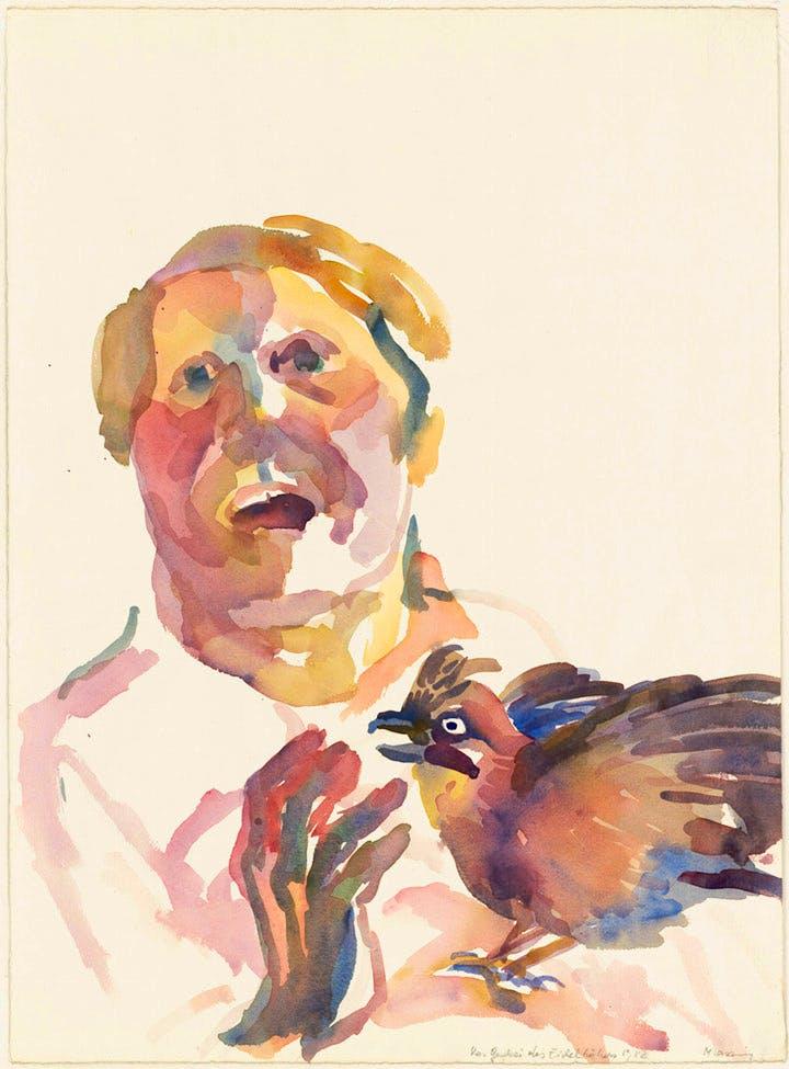 The Jay's Screeching (1982), Maria Lassnig. © 2017 Maria Lassnig Foundation