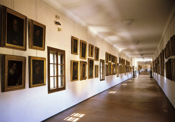 View of the Uffizi's collection of self-portraits by artists in the Vasari Corridor (1445–1510). Galleria degli Uffizi, Florence