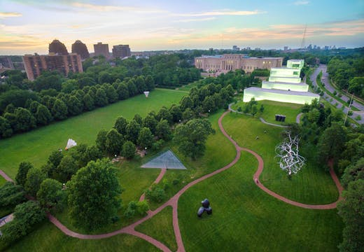 Aerial view of the museum. Courtesy the Nelson-Atkins Museum of Art