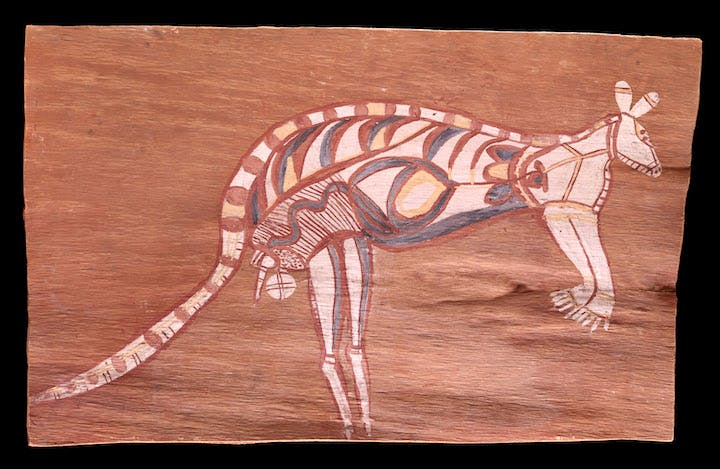 Painting on bark by Jimmy Midjawmidjaw, around 1964. Photo: © MEG, J. Watts