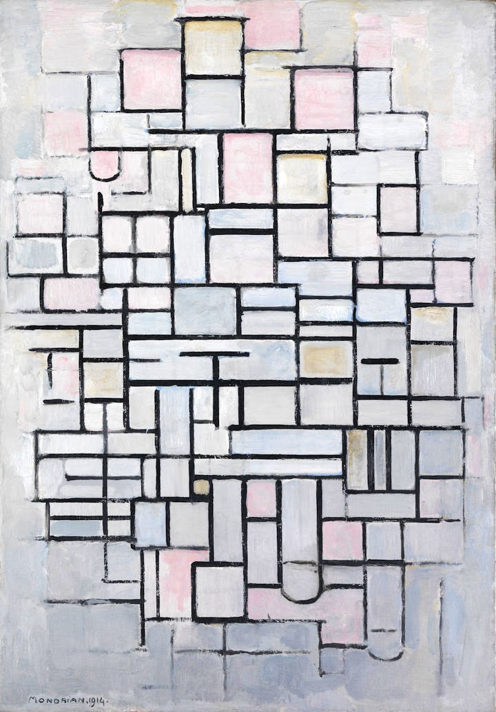 Composition No.IV (1914), Piet Mondrian. Courtesy of the Gemeentemuseum Den Haag