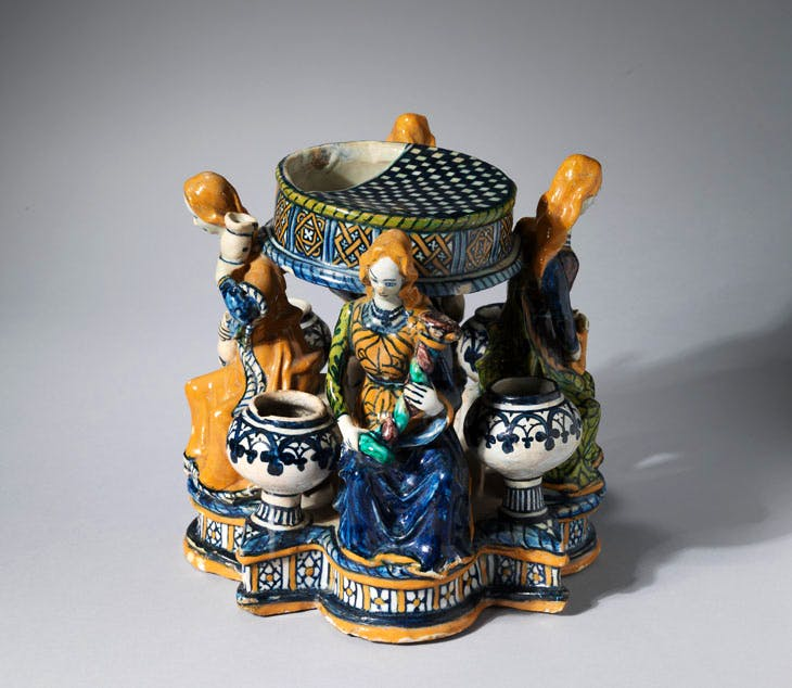 Inkstand with figures of the Virtues (c. 1480–90), probably Faenza. Courtesy Sam Fogg