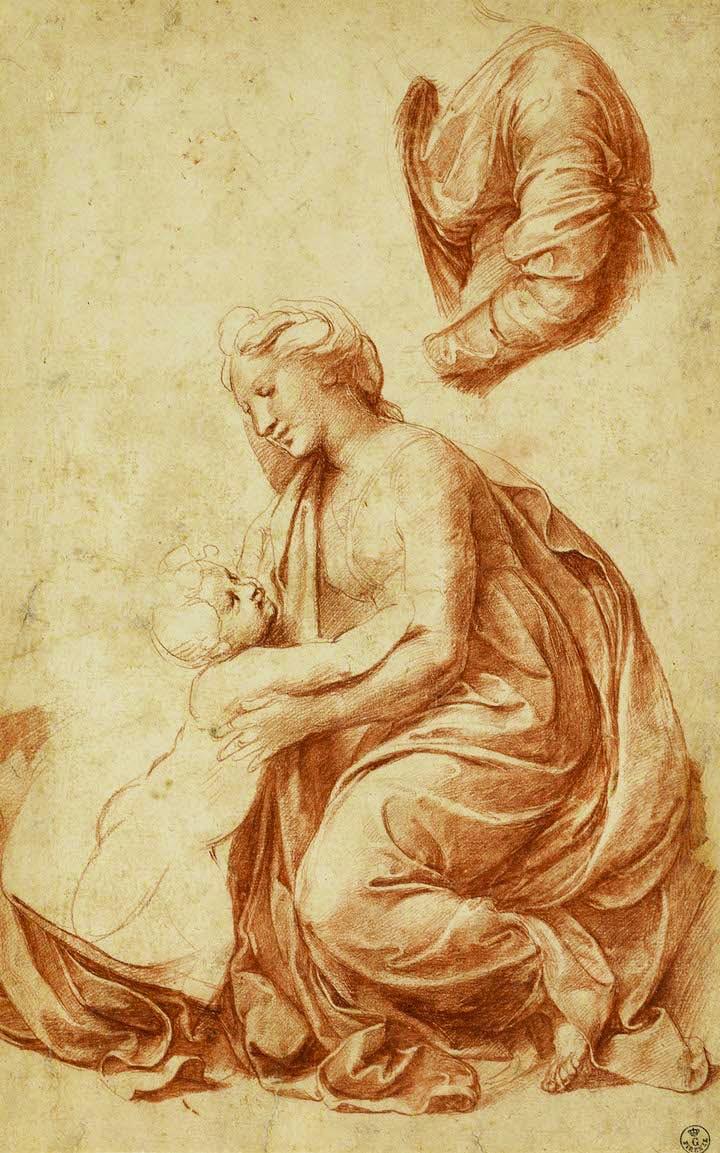 Studies for the Madonna of Francis I (c. 1518), Raphael. © Gallerie degli U zi, Gabinetto dei Disegni e delle Stampe, Florence
