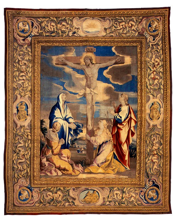 The Crucifixion (from 'Scenes from the Life of Christ') (1647–48), Rome, series designed by Giovanni Francesco Romanelli. Cathedral of St John the Divine New York