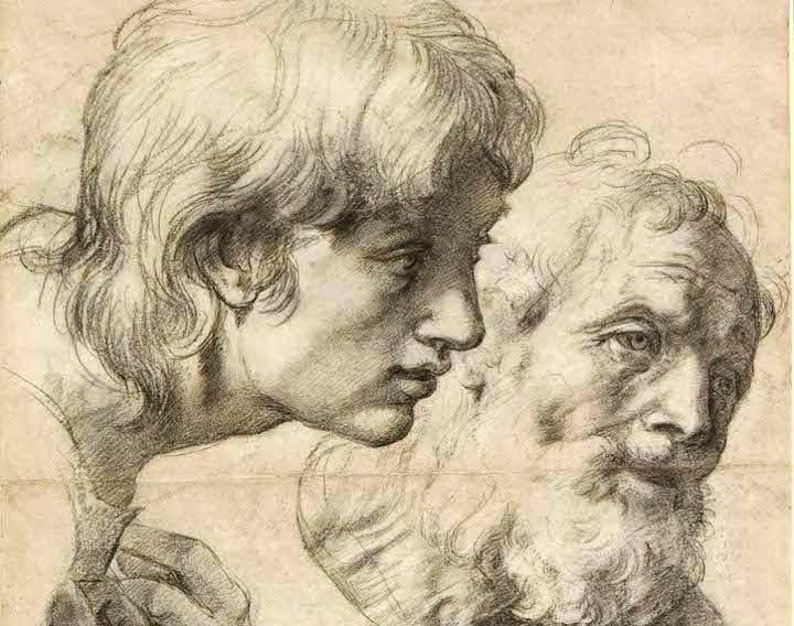 The heads and hands of two apostles (detail; c. 1519–20), Raphael. © Ashmolean Museum, University of Oxford