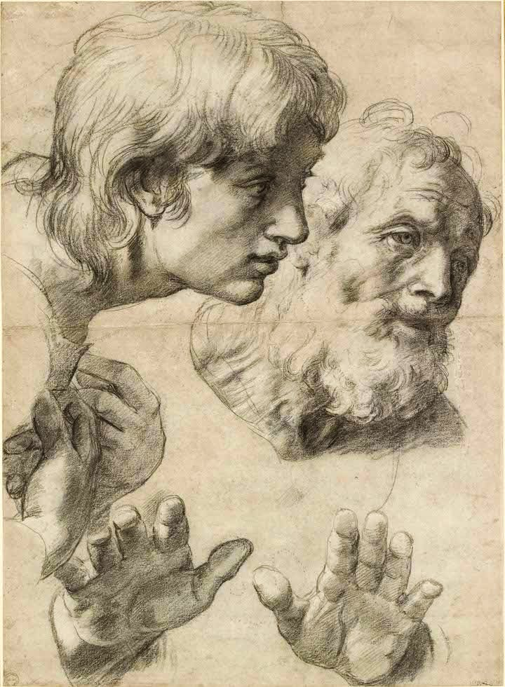 The heads and hands of two apostles (c. 1519–20), Raphael. © Ashmolean Museum, University of Oxford