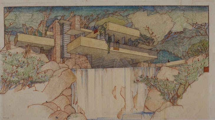 Perspective from the south of Fallingwater (Kaufmann House), Mill Run, Pennsylvania (1934–37), Frank Lloyd Wright. The Frank Lloyd Wright Foundation Archives, New York. © 2017 Frank Lloyd Wright Foundation/Artists Rights Society (ARS), New York