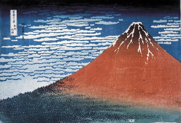 Clear day with a southern breeze ('Red Fuji') (1831), Hokusai. © The Trustees of the British Museum