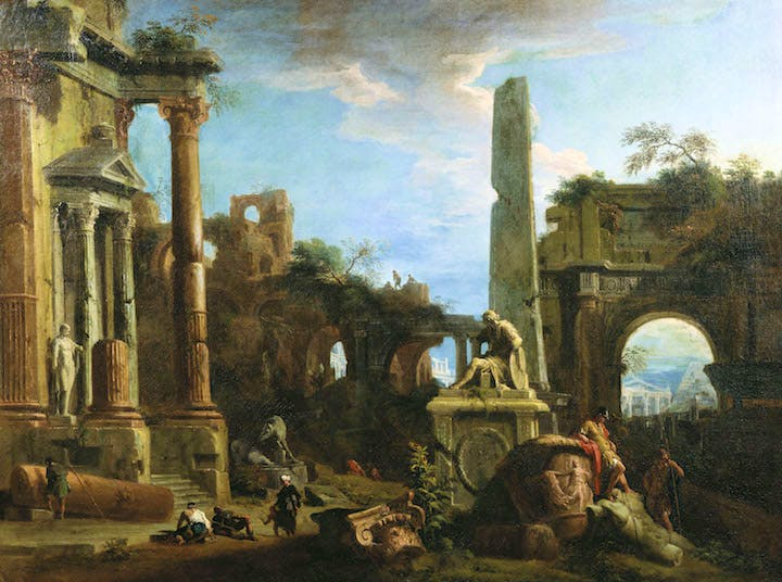 Caprice View with Roman Ruins (c. 1729), Marco Ricci. Royal Collection Trust/(c)Her Majesty Queen Elizabeth II 2016