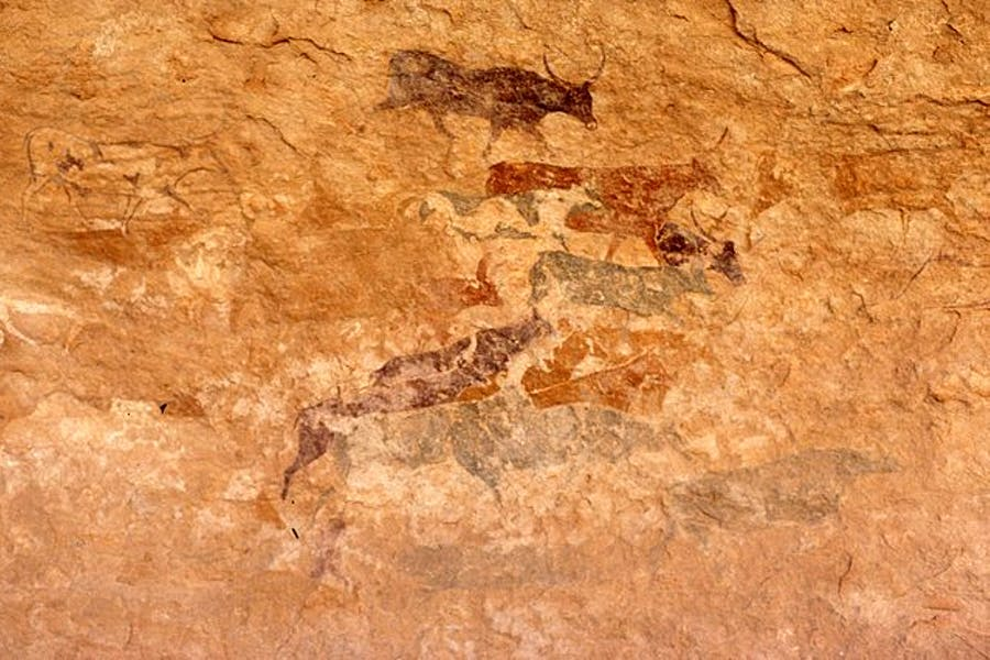 Rock art at the Unesco World Heritage Site of Tassili n'Ajjer in Algeria. Photo: Wikimedia Commons