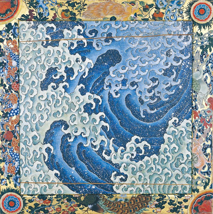 Waves (1845), one of two panel paintings attributed to Hokusai and completed by Takai Kōzan. Courtesy of Kanmachi Neighbourhood Council, Obuse, Nagano Prefectural Treasure