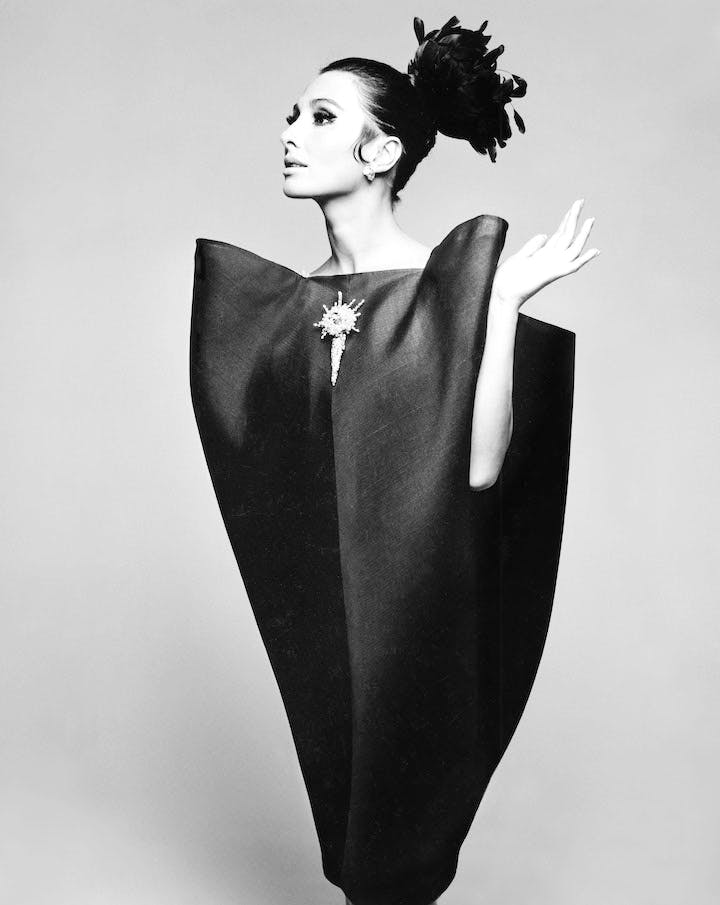 Alberta Tiburzi in an 'envelope' dress by Cristóbal Balenciaga for Harper's Bazaar, June 1967. © Hiro 1967