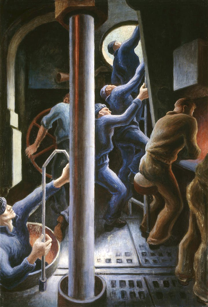 Up the Hatch (1944), Thomas Hart Benton. Image courtesy of the Navy Art Collection, Naval History and Heritage Command, Washington, D.C.