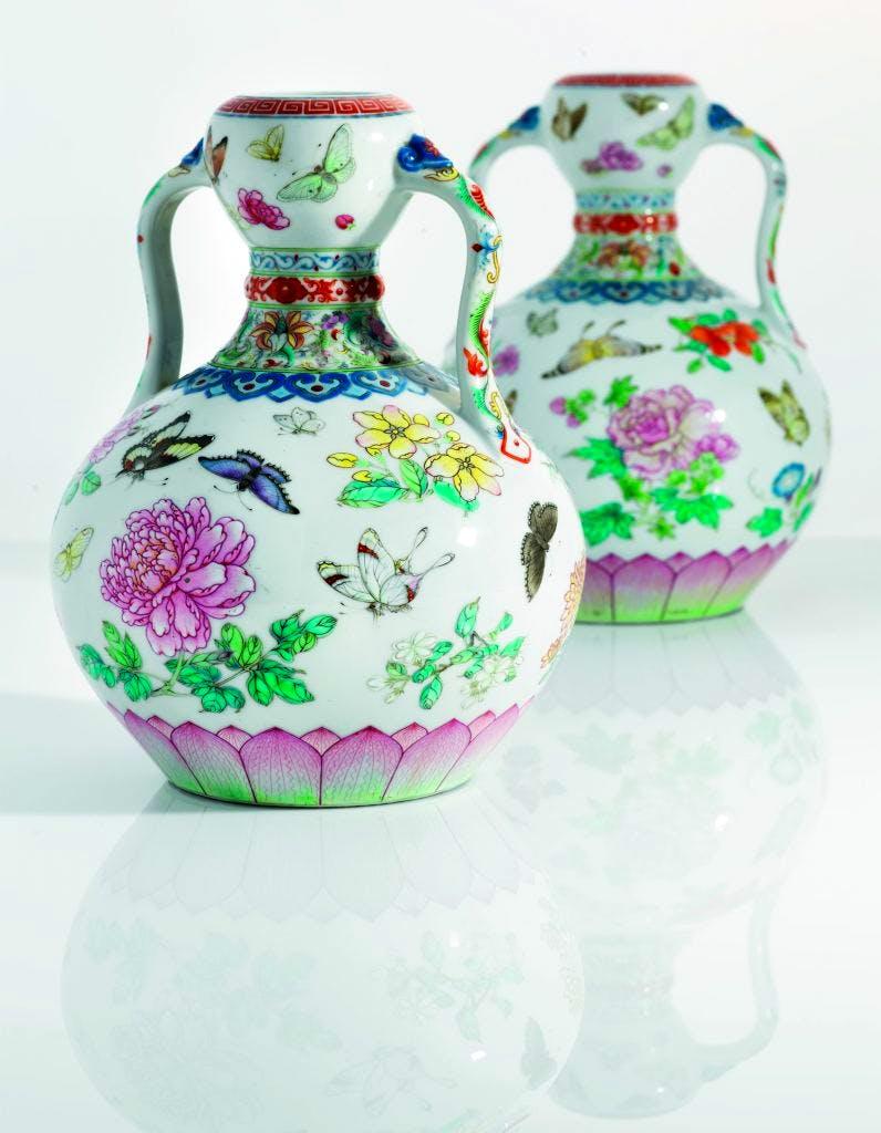 Famille rose 'Butterfly' vases