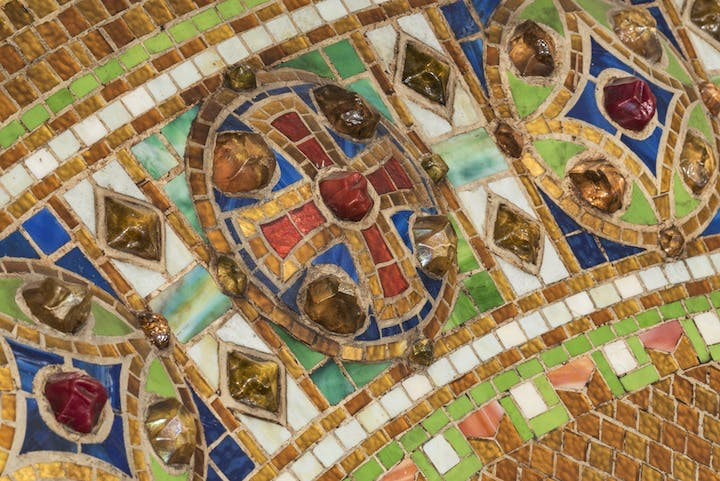 Detail of reredos with cross, produced by Tiffany Studios after 1910. Courtesy of The Corning Museum of Glass
