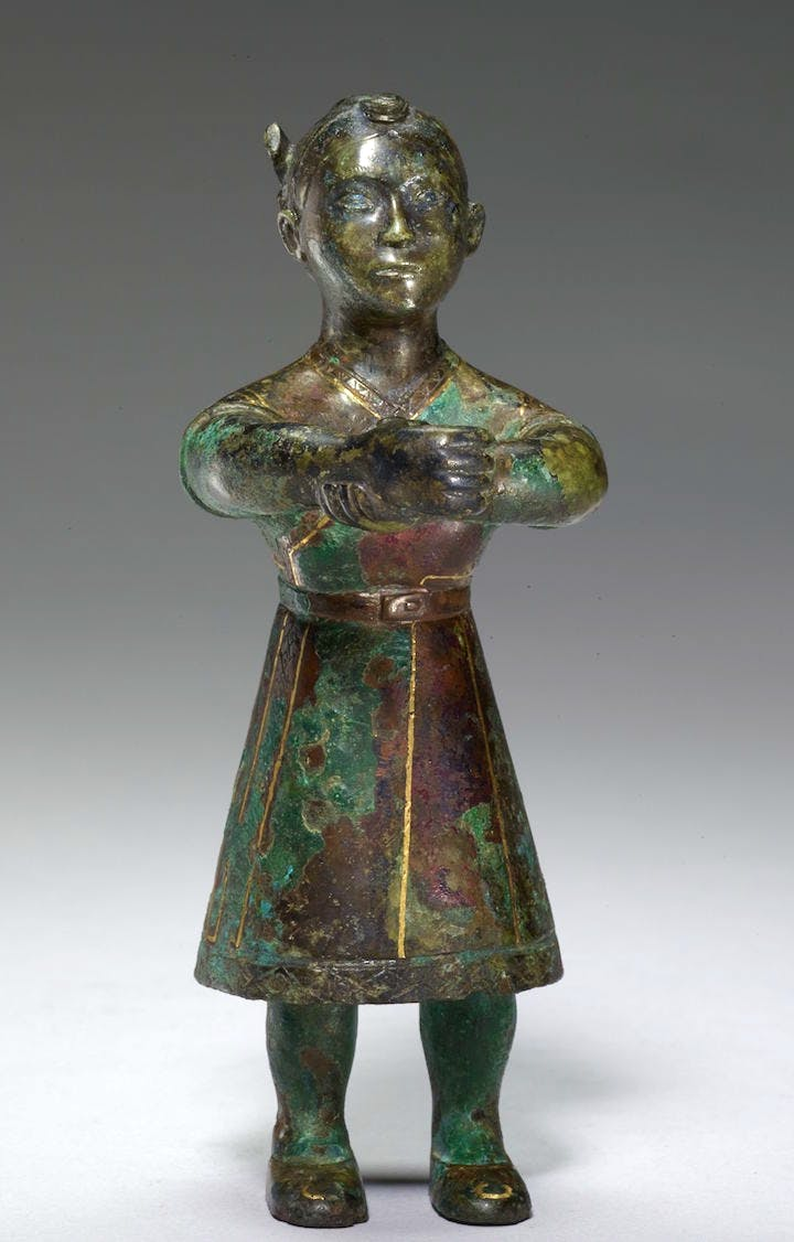 Standing Figure, 5th-4th century BCE, bronze with gold inlay. Photo: Minneapolis Institute of Art