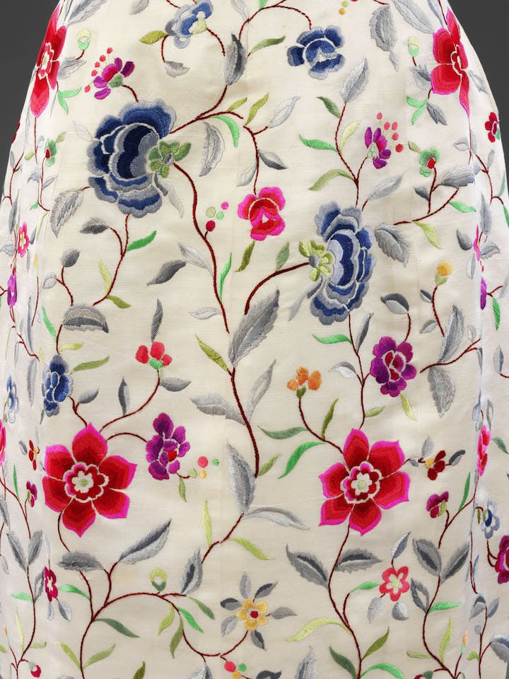 Detail of an evening dress with wild silk embroidery by Lesage, designed by Cristóbal Balenciaga in Paris, 1960-1962. © Victoria and Albert Museum, London