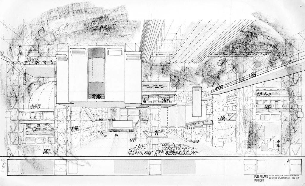 Sketch of the interior fo Cedric Price's (1934–2003) Fun Palace proposal, c. 1964. Courtesy Architectural Association, London and CCA, Montreal; © Estate of Cedric Price