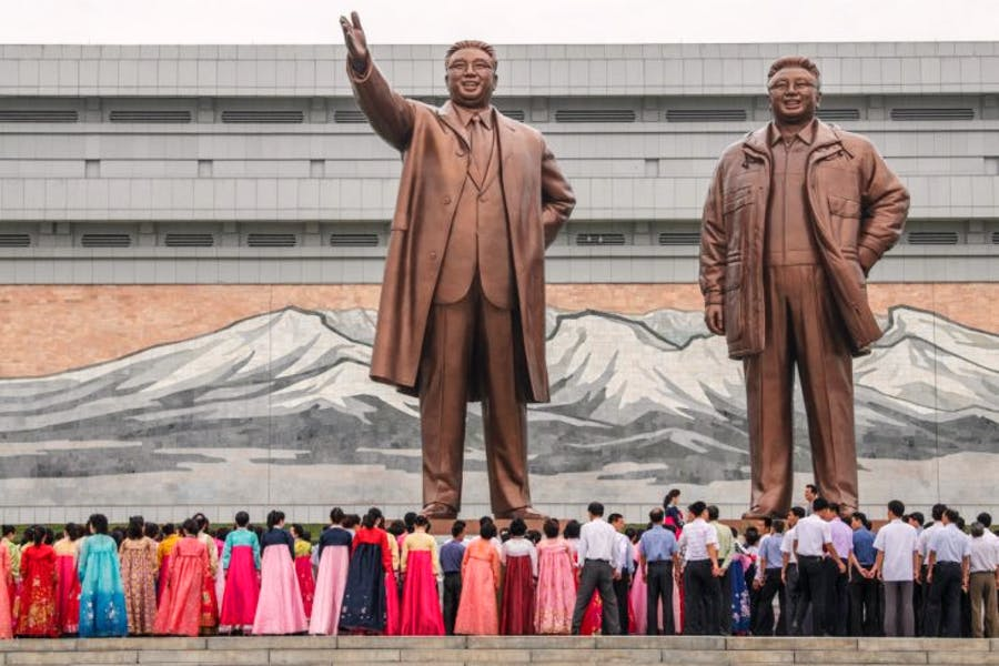 The Mansudae Grand Monument, huge statues of Kim Il-sung and Kim Jong-il in Pyongyang, North Korea. Photo by Carl Court/Getty Images