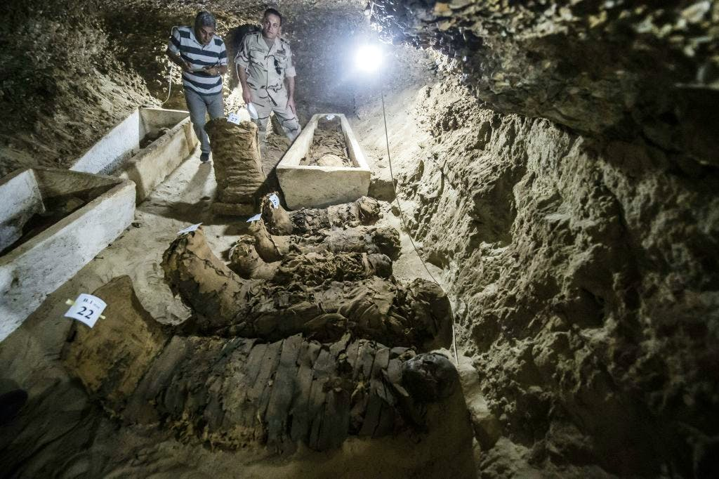 A picture taken on 13 May, 2017, shows mummies lying in catacombs following their discovery in the Touna el-Gabal district of the Minya province, in central Egypt. Photo: KHALED DESOUKI/AFP/Getty Images