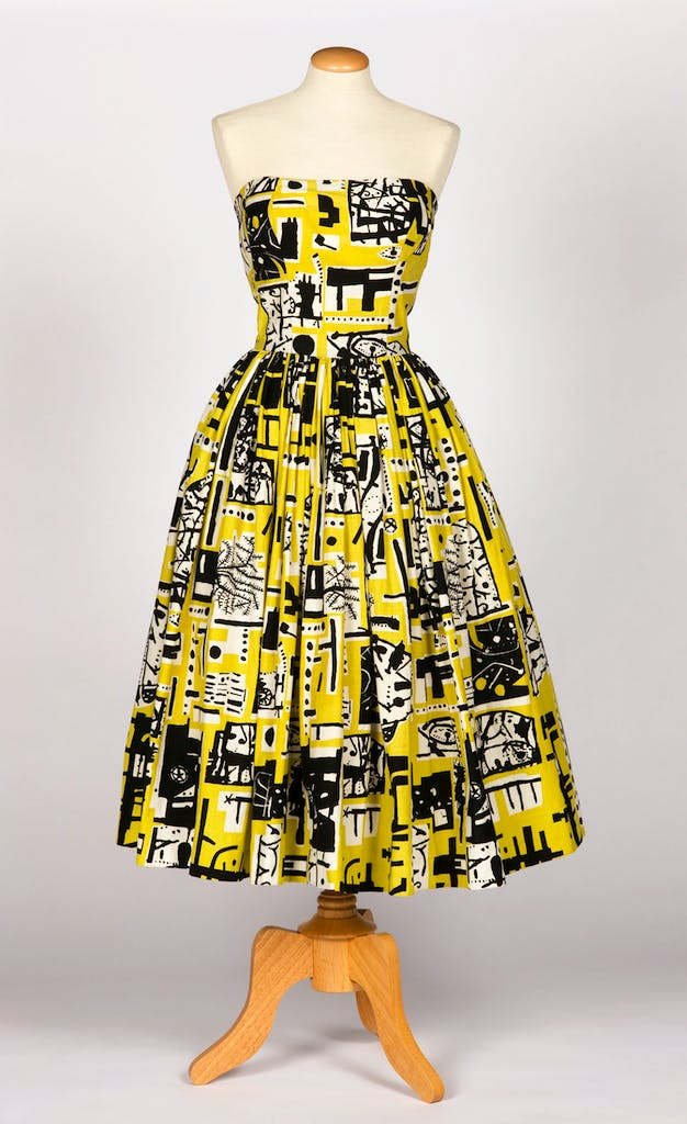 Cocktail dress for Horrockses Fashions, 1953, print designed by Eduardo Paolozzi; dress designed by John Tullis, photo: Norwyn Ltd; © Trustees of the Paolozzi Foundation, DACS 2017