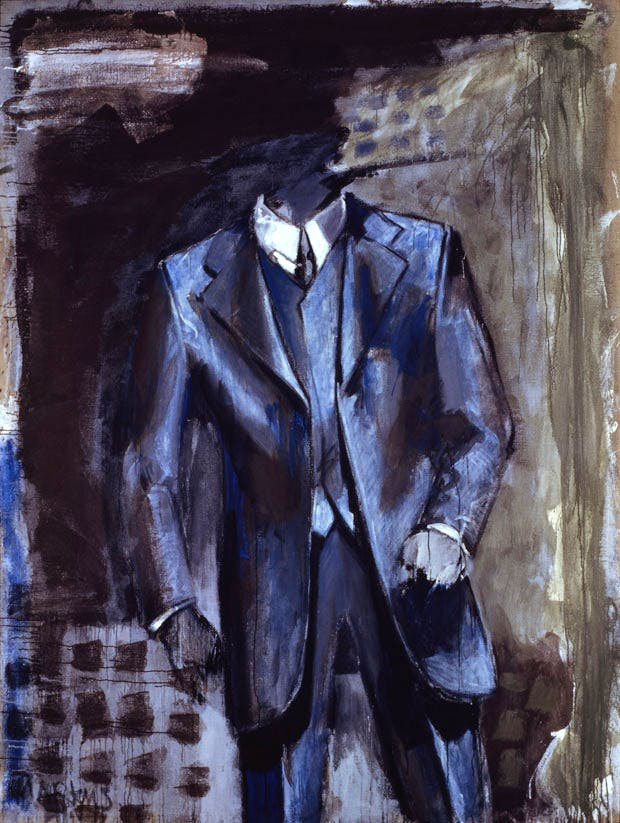 Mann im Anzug – dithyrambisch II (Man in Suit—Dithyrambic II) (1976), Markus Lüpertz. Private collection