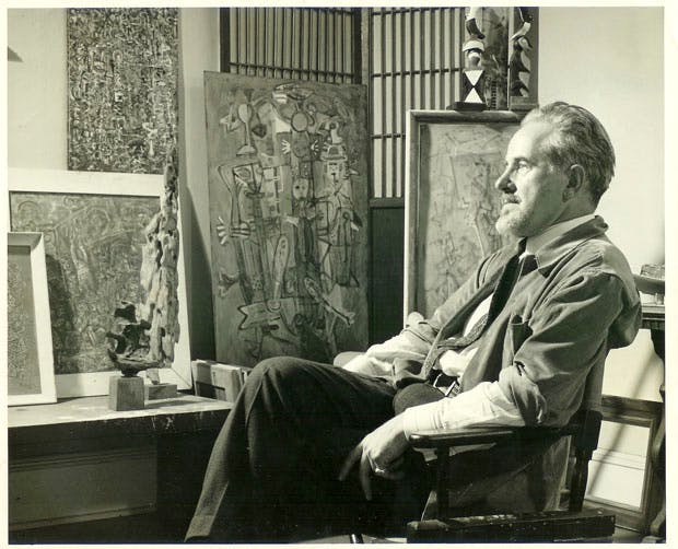 Mark Tobey in his studio (1949). Courtesy Arthur Lyon Dahl. Photo by Larry Novak