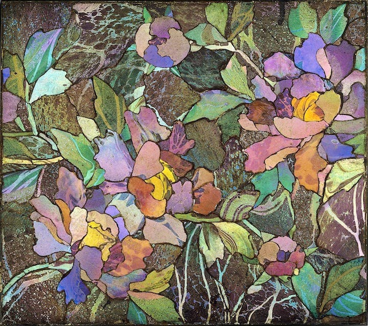 Mosaic panel with peonies, produced by Tiffany Glass and Decorating Company or Tiffany Studios around 1900–1910. Courtesy of The Corning Museum of Glass