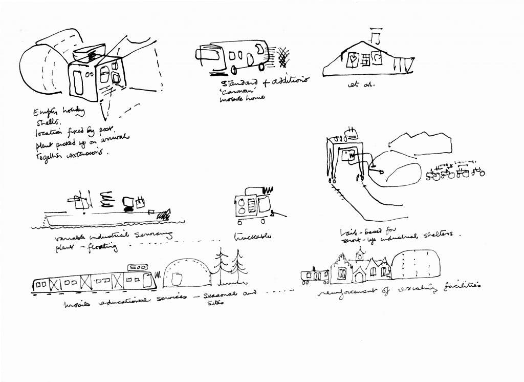 Cedric Price's 1968 sketches of vacation homes, industrial plants, and educational services in his Null-Plan scheme, later known as the Non-Plan. Courtesy Architectural Association, London; © Estate of Cedric Price